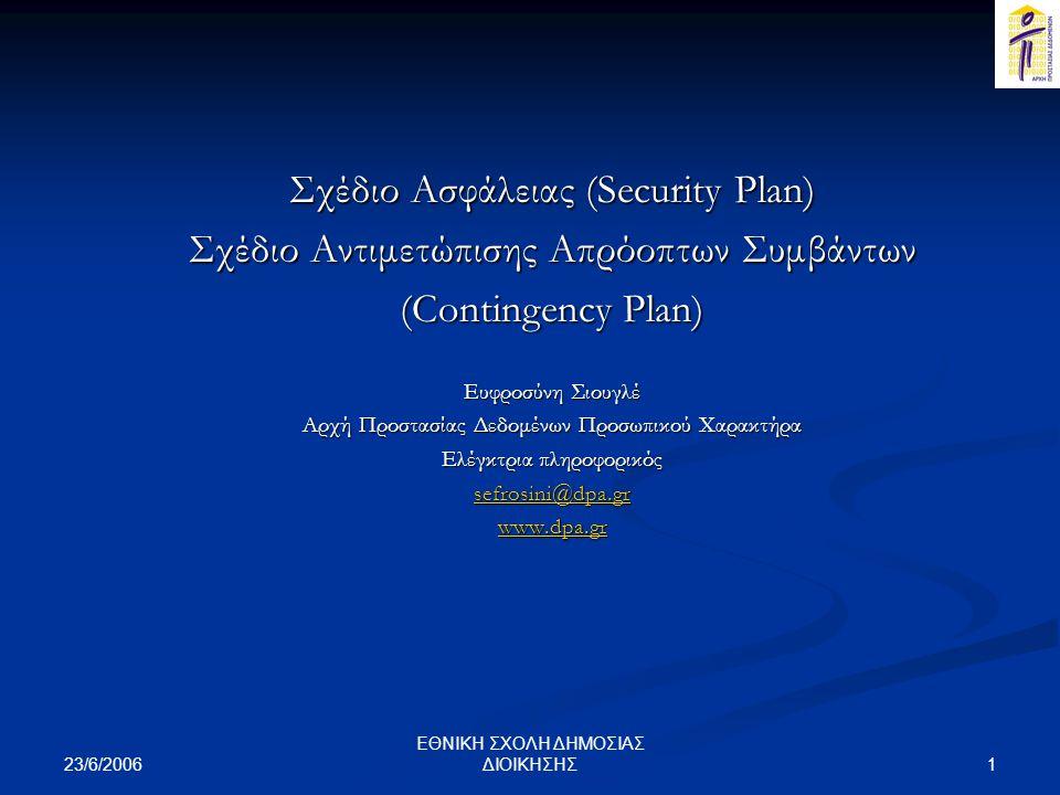 Σχέδιο Ασφάλειας (Security Plan)