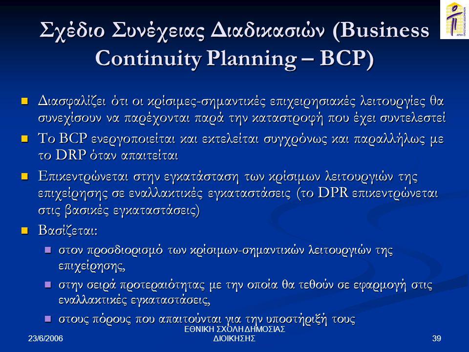 Σχέδιο Συνέχειας Διαδικασιών (Business Continuity Planning – BCP)