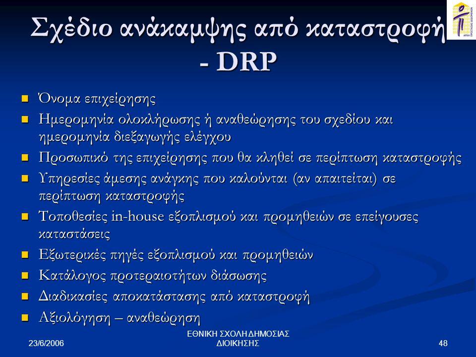 Σχέδιο ανάκαμψης από καταστροφή - DRP