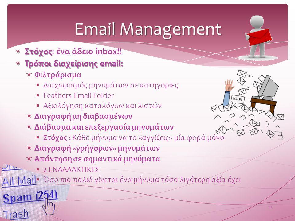 Email Management Στόχος: ένα άδειο inbox!! Τρόποι διαχείρισης email: