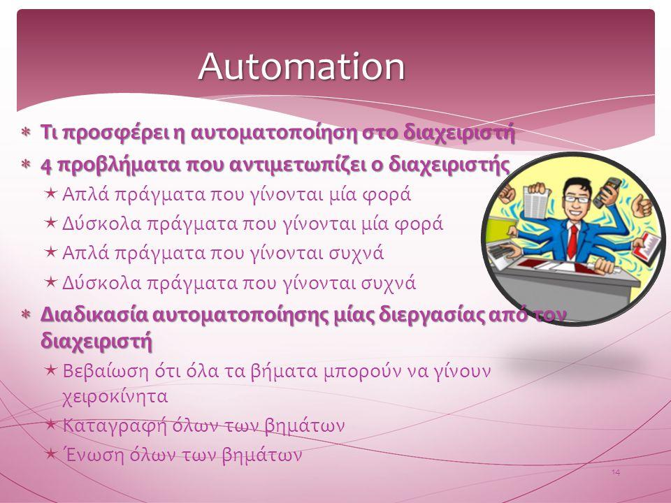 Automation Τι προσφέρει η αυτοματοποίηση στο διαχειριστή