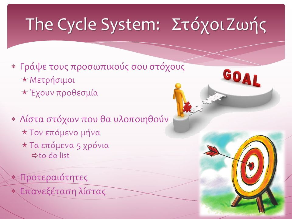 The Cycle System: Στόχοι Ζωής