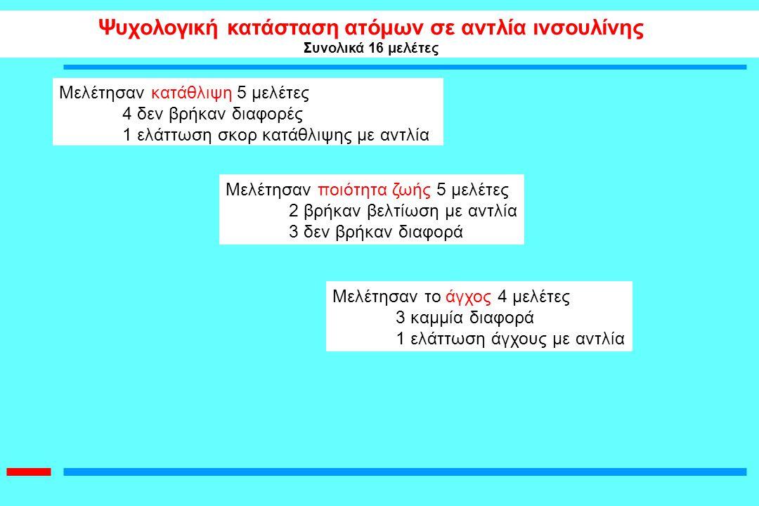 Ψυχολογική κατάσταση ατόμων σε αντλία ινσουλίνης