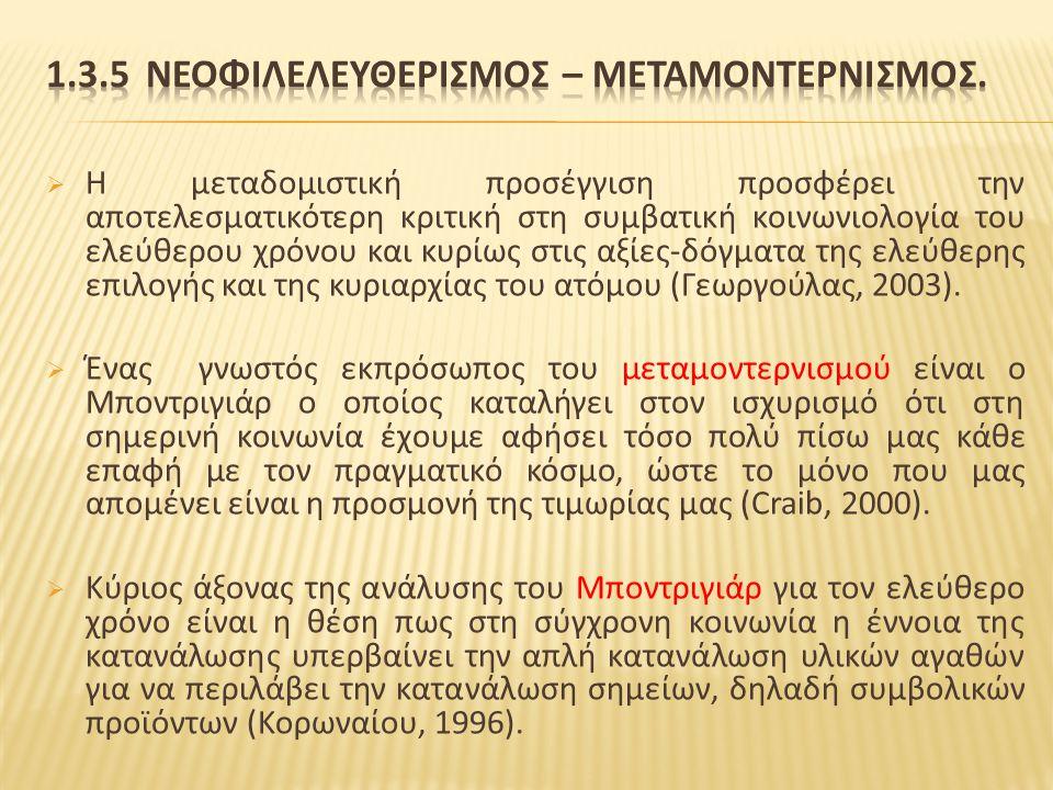 1.3.5 ΝεοφιλελευθερισμΟΣ – ΜεταμοντερνισμΟΣ.
