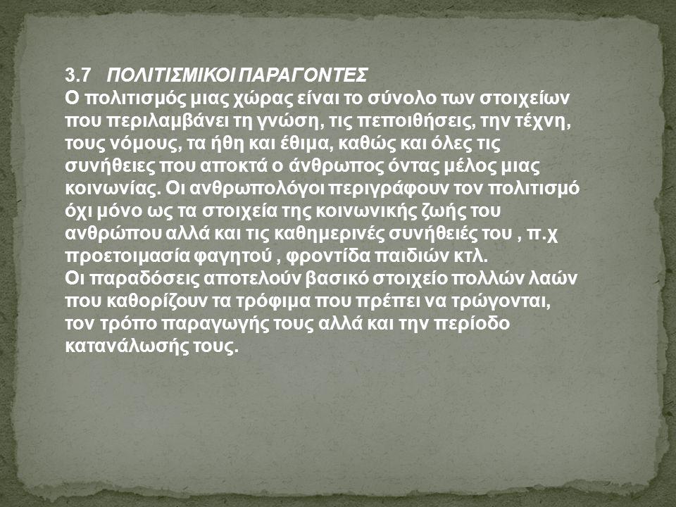 3.7 ΠΟΛΙΤΙΣΜΙΚΟΙ ΠΑΡΑΓΟΝΤΕΣ