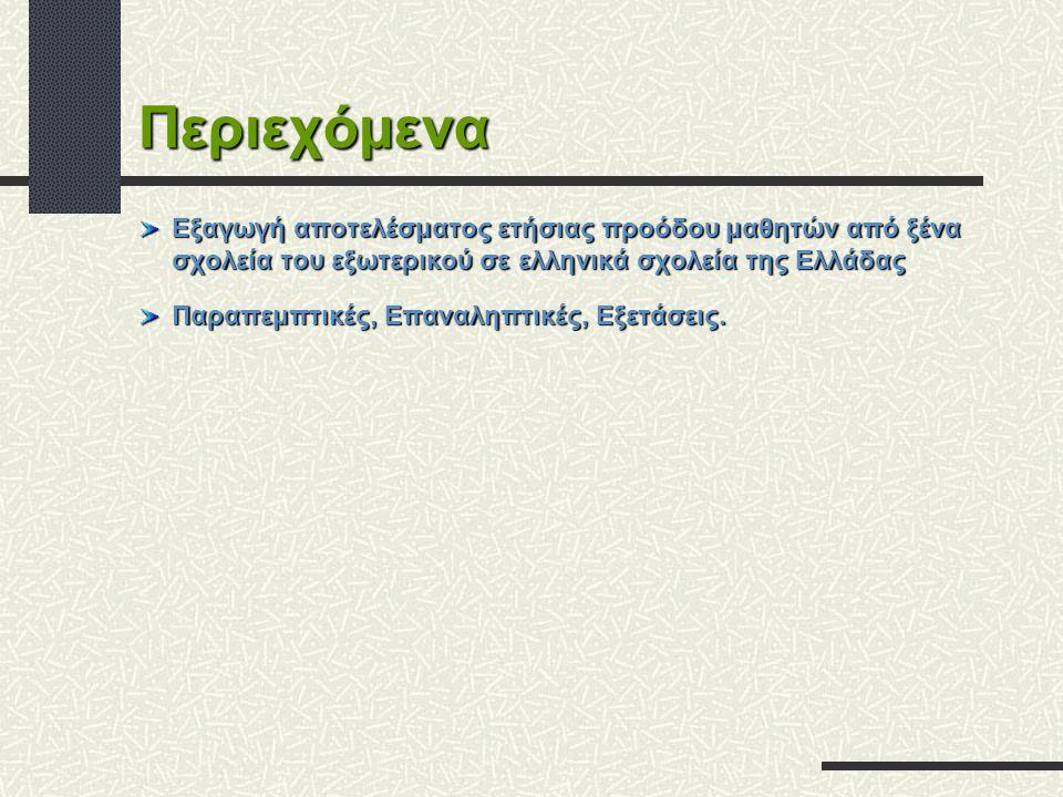 Περιεχόμενα Εξαγωγή αποτελέσματος ετήσιας προόδου μαθητών από ξένα σχολεία του εξωτερικού σε ελληνικά σχολεία της Ελλάδας.