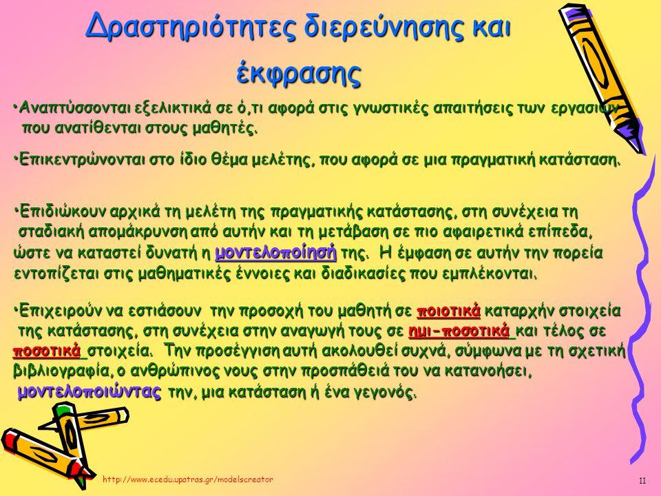 Δραστηριότητες διερεύνησης και έκφρασης