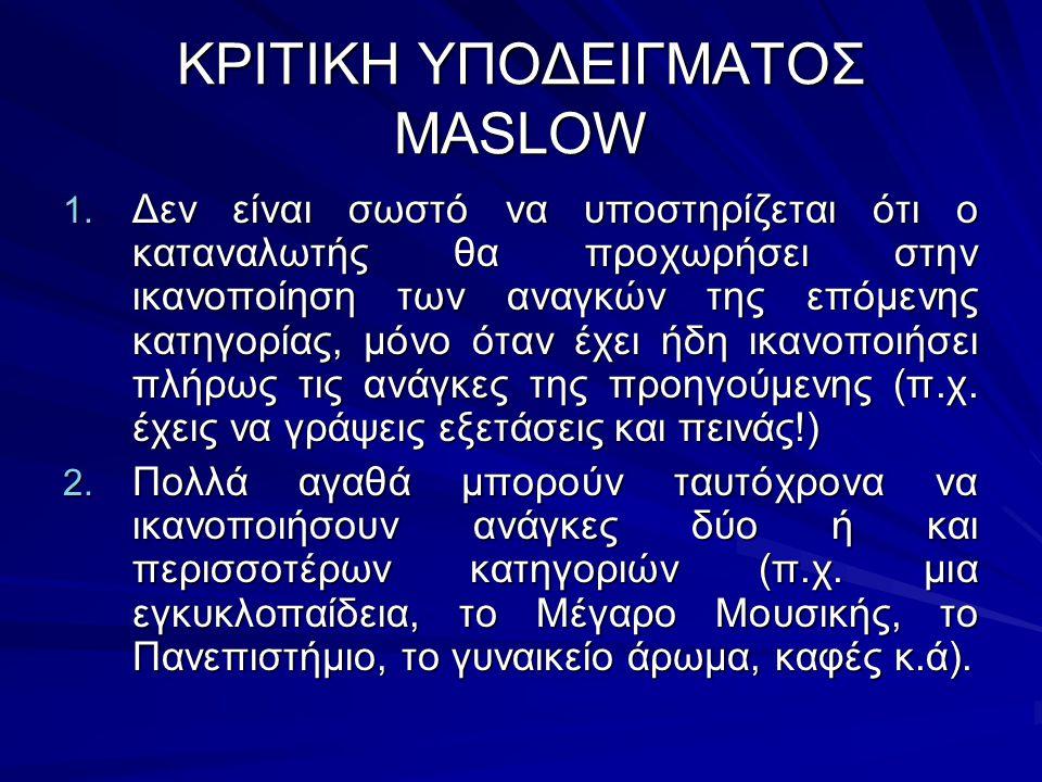 ΚΡΙΤΙΚΗ ΥΠΟΔΕΙΓΜΑΤΟΣ MASLOW