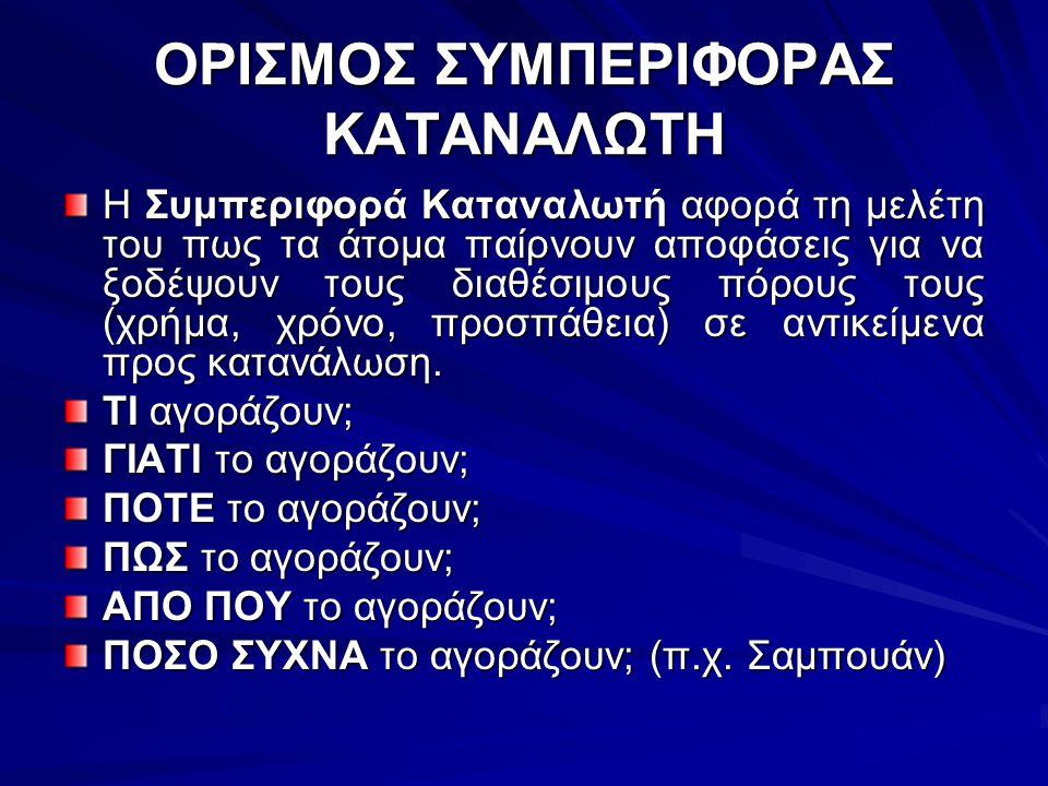 ΟΡΙΣΜΟΣ ΣΥΜΠΕΡΙΦΟΡΑΣ ΚΑΤΑΝΑΛΩΤΗ