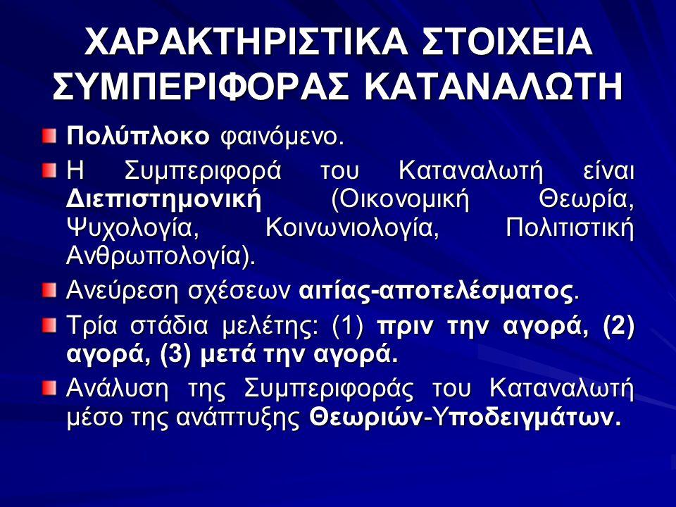 ΧΑΡΑΚΤΗΡΙΣΤΙΚΑ ΣΤΟΙΧΕΙΑ ΣΥΜΠΕΡΙΦΟΡΑΣ ΚΑΤΑΝΑΛΩΤΗ