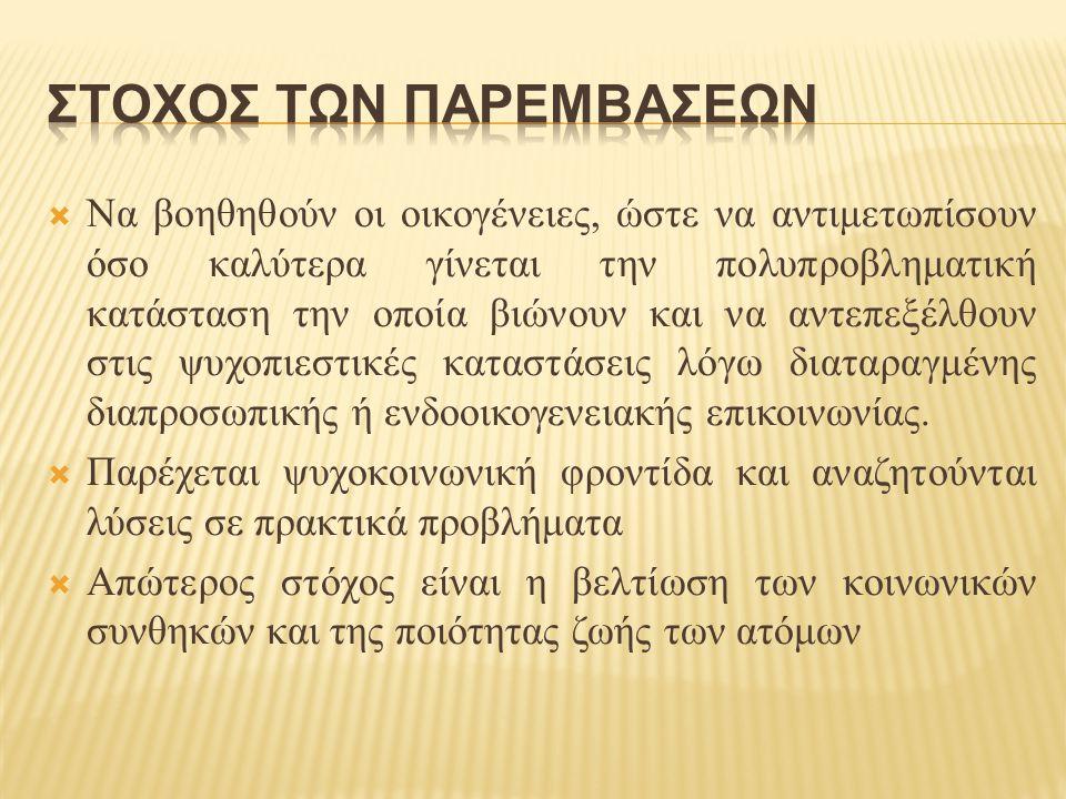 ΣΤΟΧΟΣ ΤΩΝ ΠΑΡΕΜΒΑΣΕΩΝ