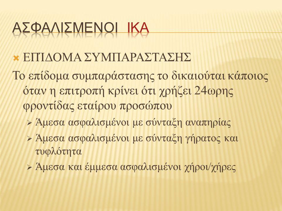 ΑΣΦΑΛΙΣΜΕΝΟΙ ΙΚΑ ΕΠΊΔΟΜΑ ΣΥΜΠΑΡΑΣΤΑΣΗΣ