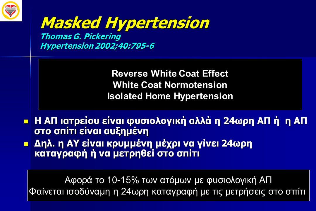 Masked Hypertension Thomas G. Pickering Hypertension 2002;40:795-6