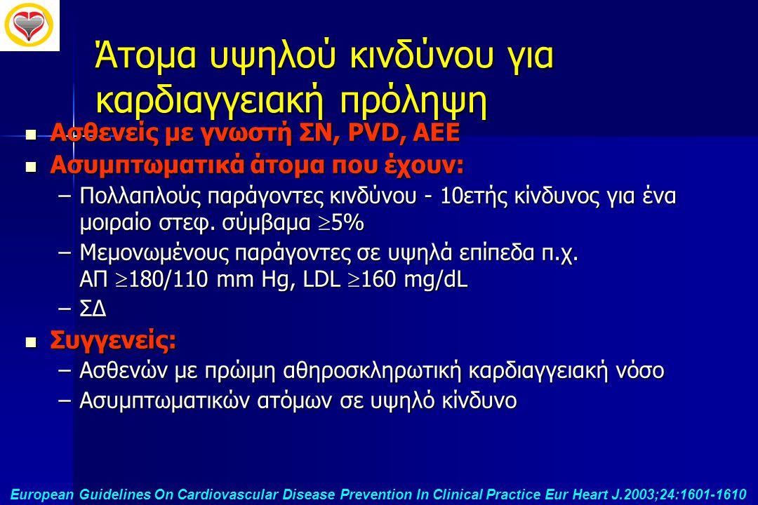 Άτομα υψηλού κινδύνου για καρδιαγγειακή πρόληψη