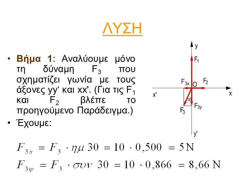 ΛΥΣΗ Βήμα 1: Αναλύουμε μόνο τη δύναμη F3 που σχηματίζει γωνία με τους άξονες yy' και xx . (Για τις F1 και F2 βλέπε το προηγούμενο Παράδειγμα.)