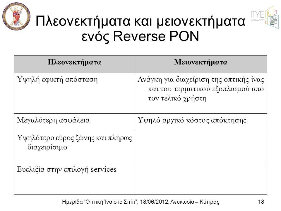 Πλεονεκτήματα και μειονεκτήματα ενός Reverse PON