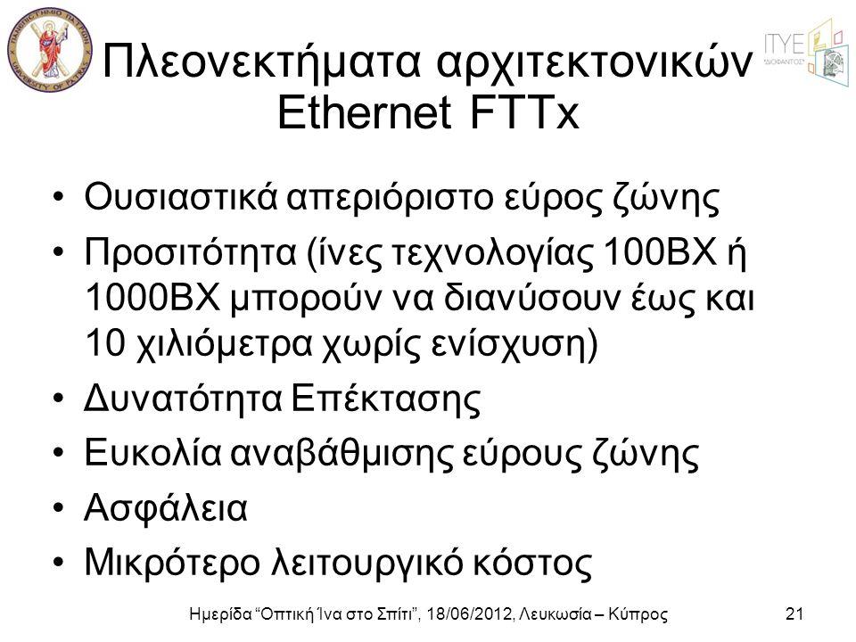 Πλεονεκτήματα αρχιτεκτονικών Ethernet FTTx