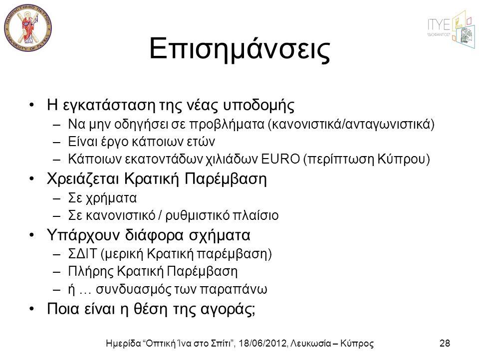 Ημερίδα Οπτική Ίνα στο Σπίτι , 18/06/2012, Λευκωσία – Κύπρος