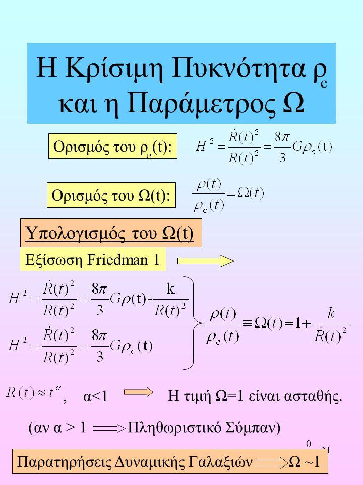 Η Κρίσιμη Πυκνότητα ρ και η Παράμετρος Ω