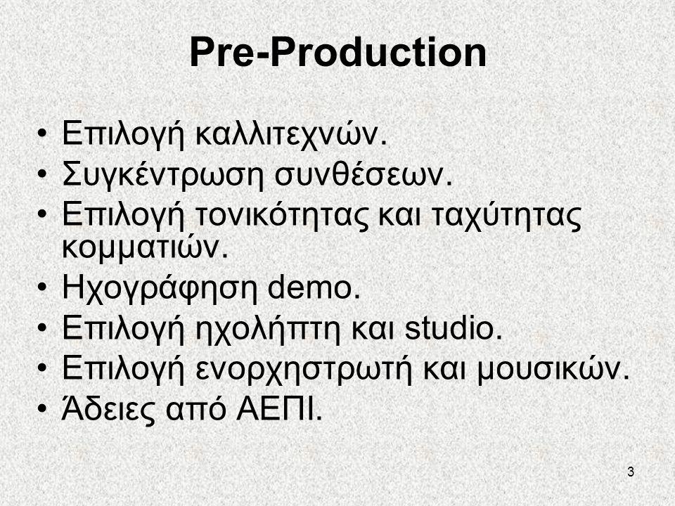 Pre-Production Επιλογή καλλιτεχνών. Συγκέντρωση συνθέσεων.