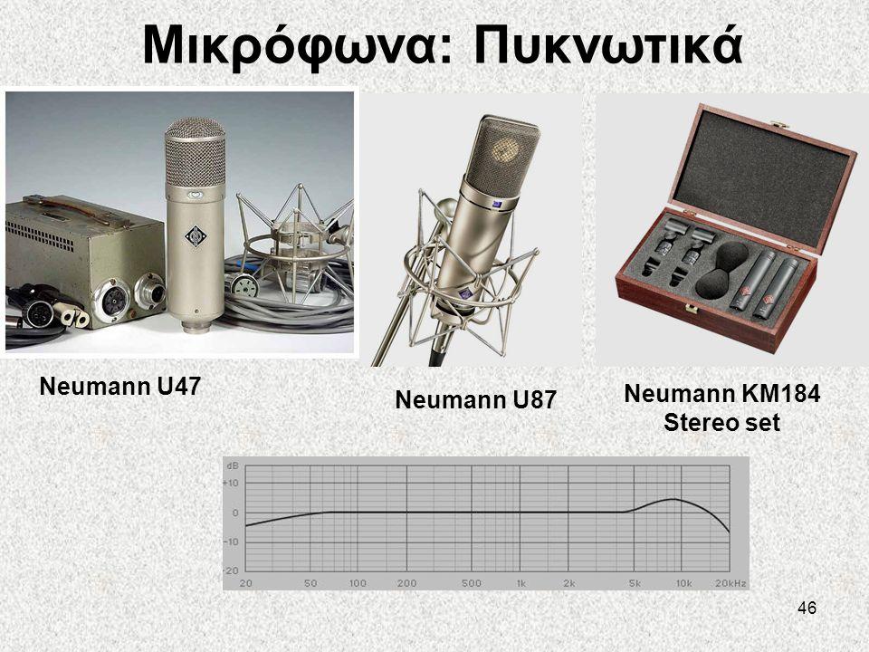 Μικρόφωνα: Πυκνωτικά Neumann U47 Neumann KM184 Stereo set Neumann U87