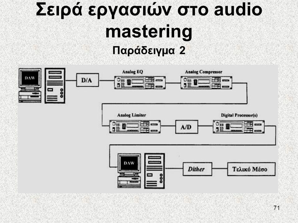 Σειρά εργασιών στο audio mastering Παράδειγμα 2