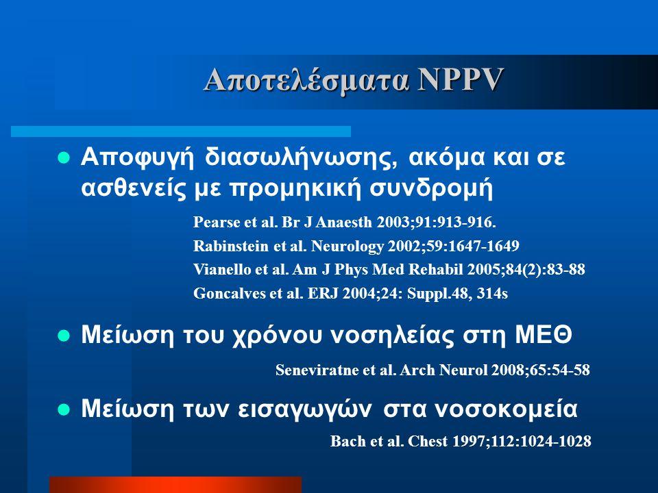 Αποτελέσματα NPPV Αποφυγή διασωλήνωσης, ακόμα και σε ασθενείς με προμηκική συνδρομή. Μείωση του χρόνου νοσηλείας στη ΜΕΘ.
