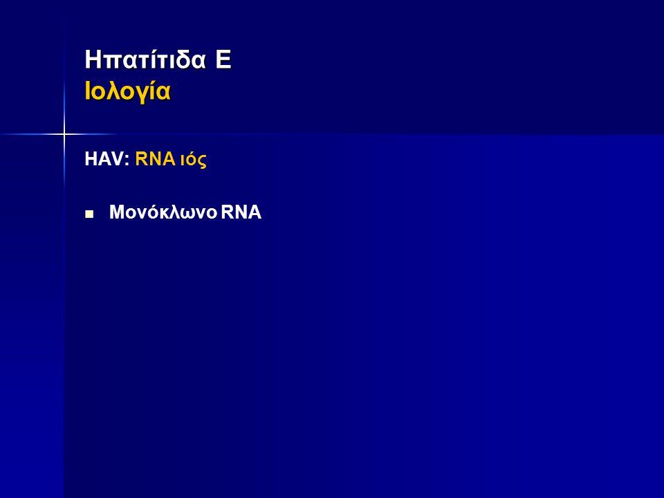 Ηπατίτιδα Ε Ιολογία ΗAV: RNA ιός Μονόκλωνο RNA