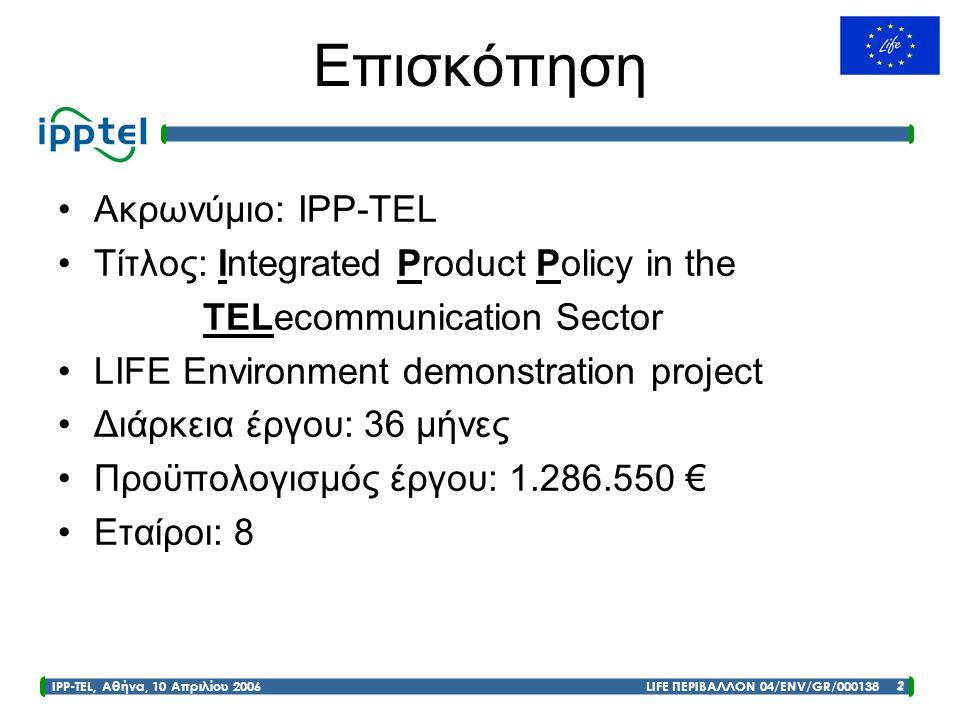 Επισκόπηση Ακρωνύμιο: IPP-TEL Τίτλος: Integrated Product Policy in the