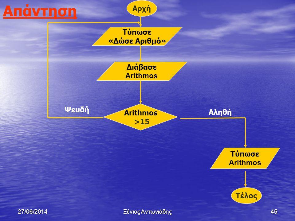 Απάντηση Αρχή Τύπωσε «Δώσε Αριθμό» Διάβασε Arithmos Ψευδή Arithmos