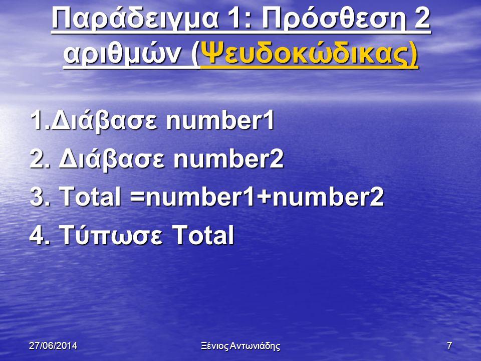 Παράδειγμα 1: Πρόσθεση 2 αριθμών (Ψευδοκώδικας)