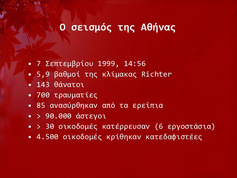 Ο σεισμός της Αθήνας 7 Σεπτεμβρίου 1999, 14:56