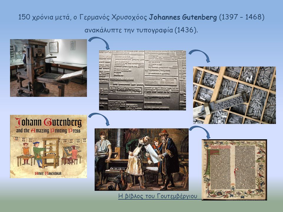 150 χρόνια μετά, ο Γερμανός Χρυσοχόος Johannes Gutenberg (1397 – 1468) ανακάλυπτε την τυπογραφία (1436).