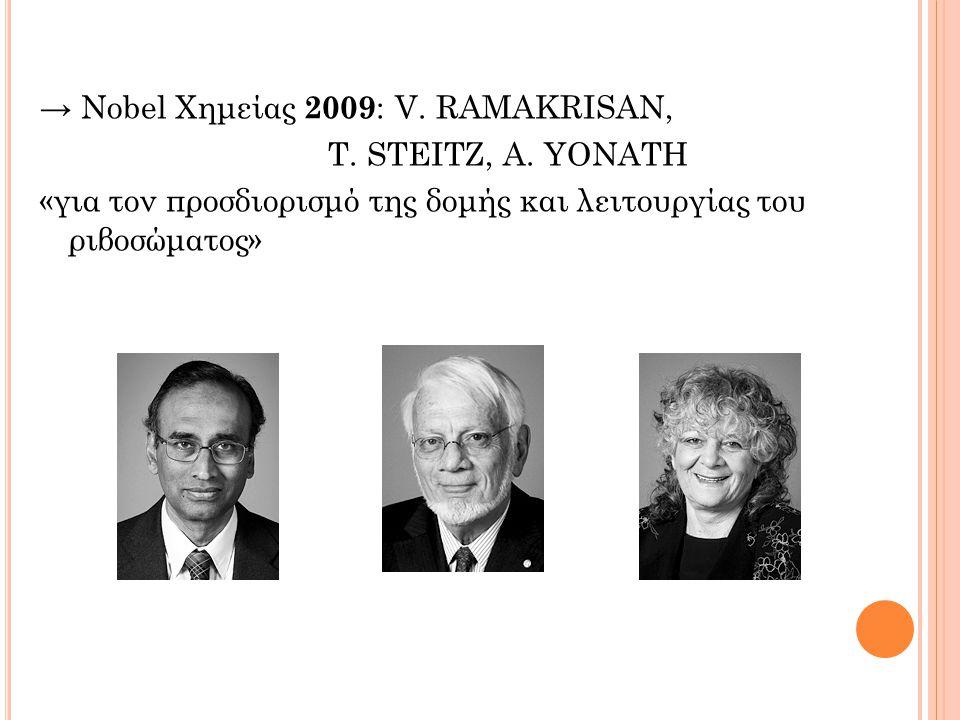 → Νobel Χημείας 2009: V. RAMAKRISAN, T. STΕΙΤΖ, A