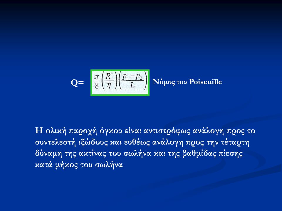 Q= Νόμος του Poiseuille.