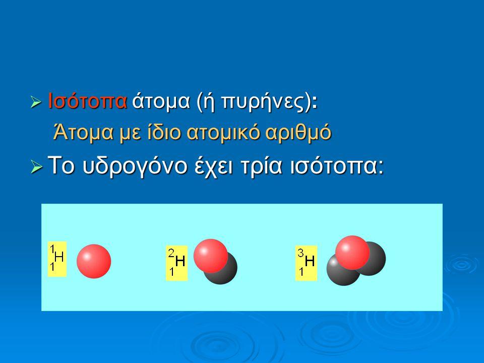 Το υδρογόνο έχει τρία ισότοπα: