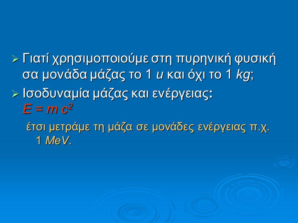 Iσοδυναμία μάζας και ενέργειας: E = m c2