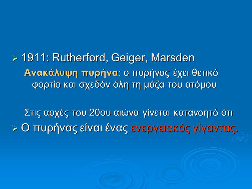 1911: Rutherford, Geiger, Marsden