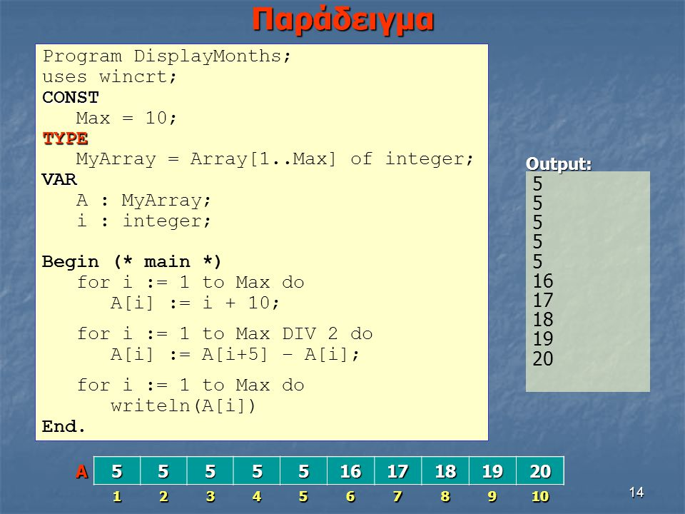 Παράδειγμα Program DisplayMonths; uses wincrt; CONST Max = 10; TYPE