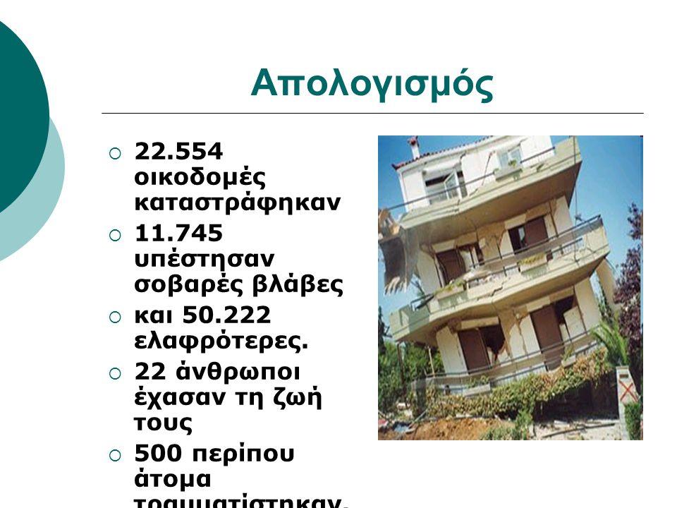 Απολογισμός 22.554 οικοδομές καταστράφηκαν