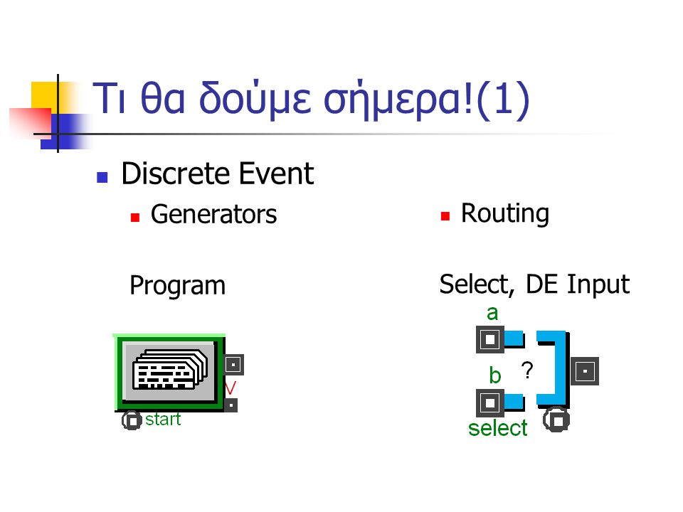 Τι θα δούμε σήμερα!(1) Discrete Event Generators Routing Program