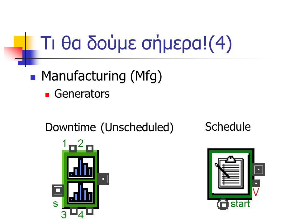 Τι θα δούμε σήμερα!(4) Manufacturing (Mfg) Generators
