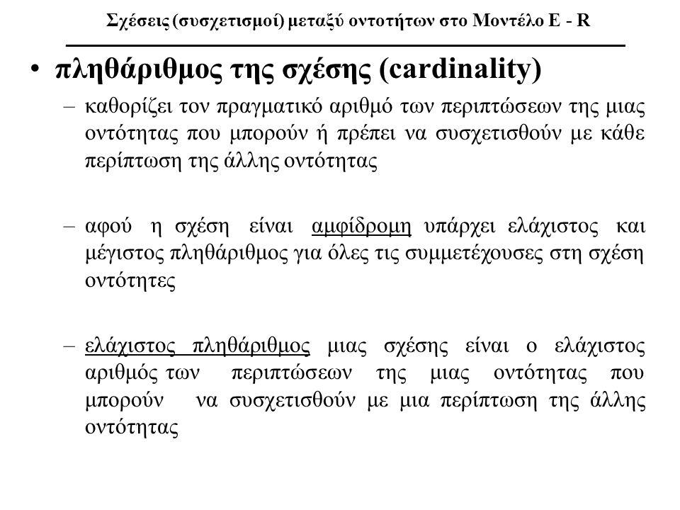 πληθάριθμος της σχέσης (cardinality)
