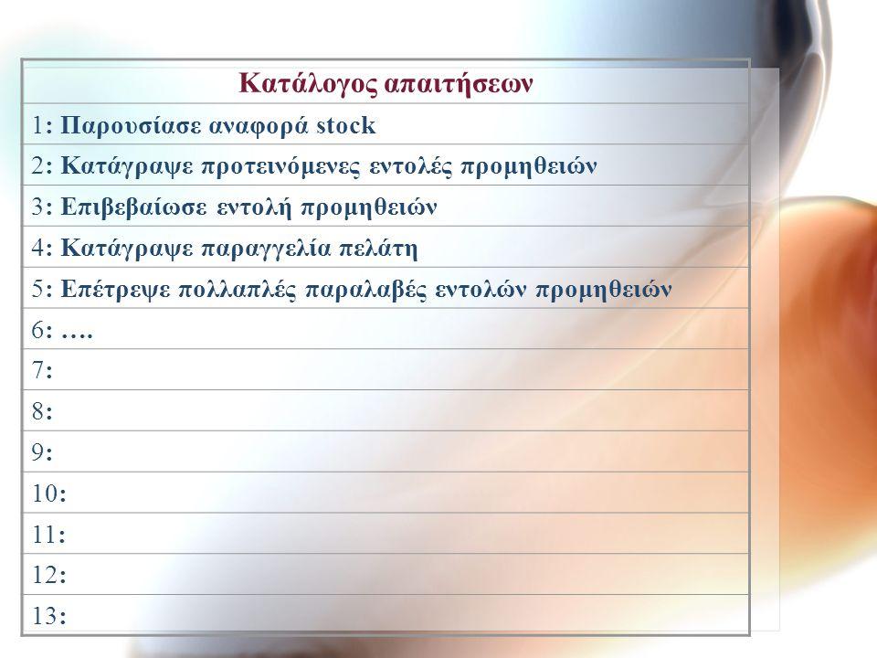 Κατάλογος απαιτήσεων 1: Παρουσίασε αναφορά stock