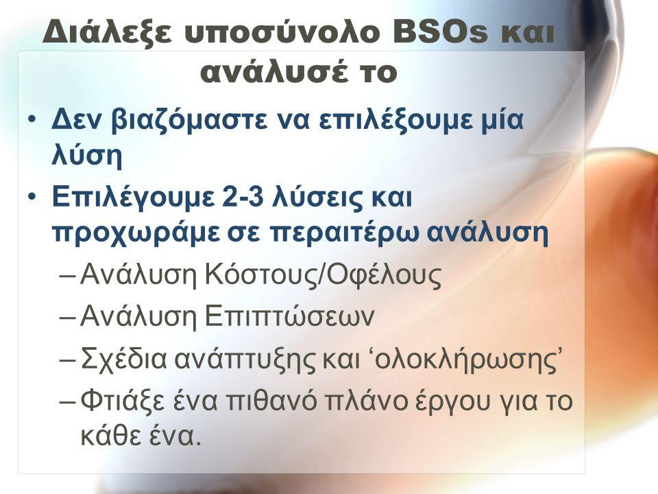 Διάλεξε υποσύνολο BSOs και ανάλυσέ το