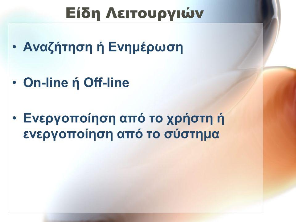 Είδη Λειτουργιών Αναζήτηση ή Ενημέρωση On-line ή Off-line
