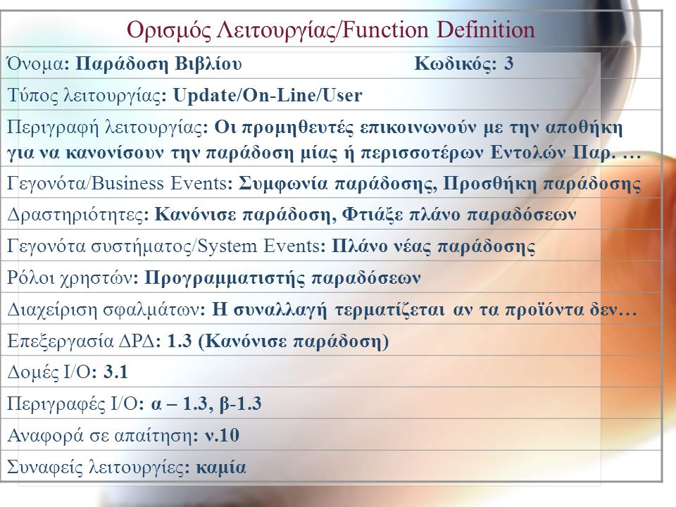 Ορισμός Λειτουργίας/Function Definition