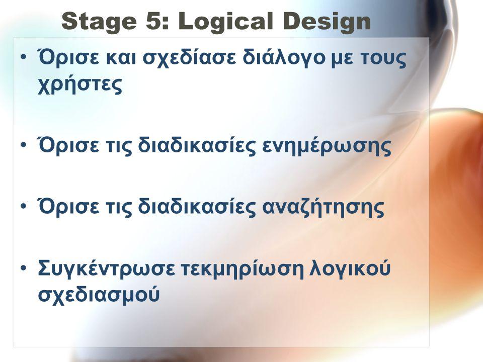 Stage 5: Logical Design Όρισε και σχεδίασε διάλογο με τους χρήστες