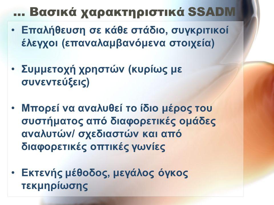 … Βασικά χαρακτηριστικά SSADM