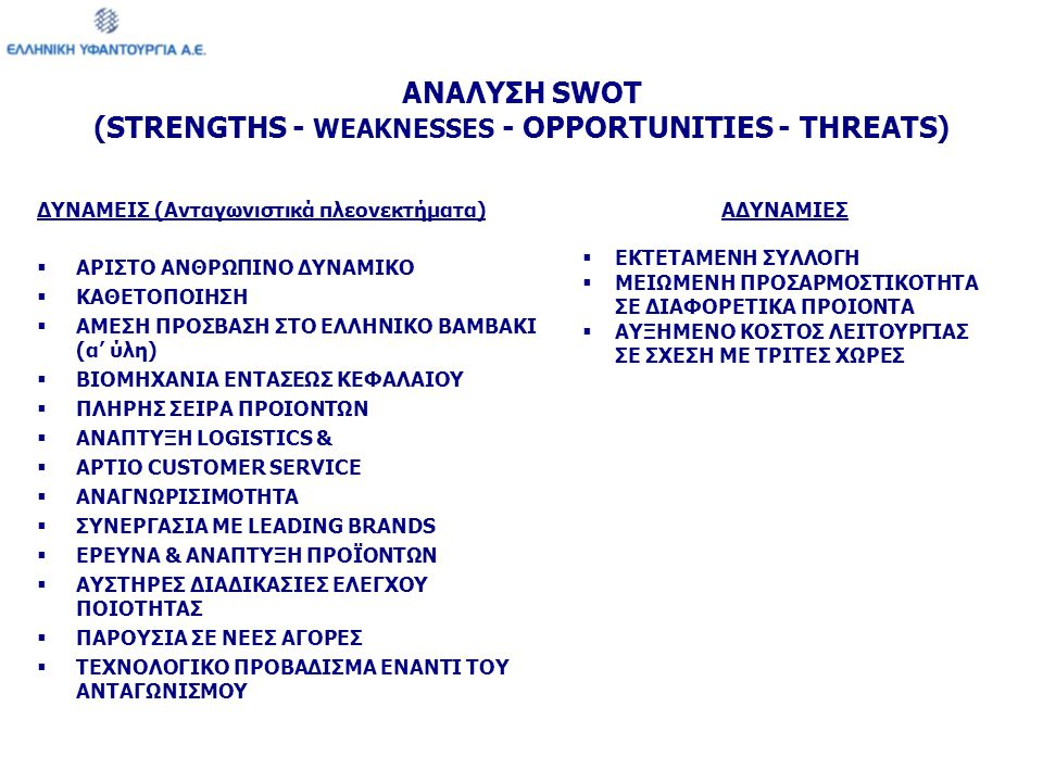 ΑΝΑΛΥΣΗ SWOT (STRENGTHS - WEAKNESSES - OPPORTUNITIES - THREATS)